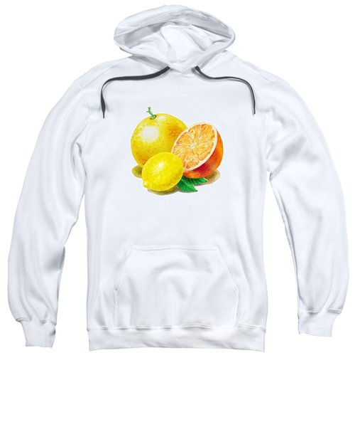Sweatshirt featuring the painting Grapefruit Lemon Orange by Irina Sztukowski