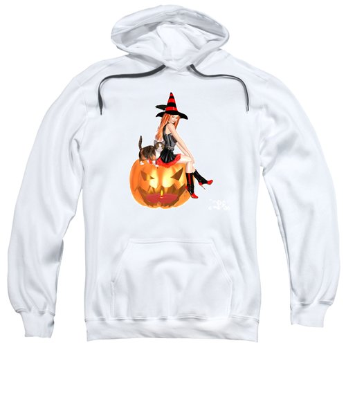 Halloween Witch Nicki With Kitten Sweatshirt