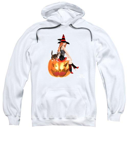 Halloween Witch Nicki With Kitten Sweatshirt by Renate Janssen