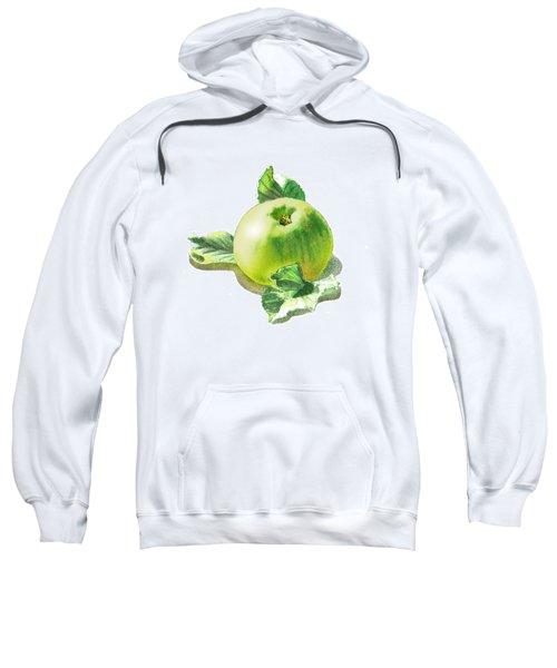 Sweatshirt featuring the painting Happy Green Apple by Irina Sztukowski