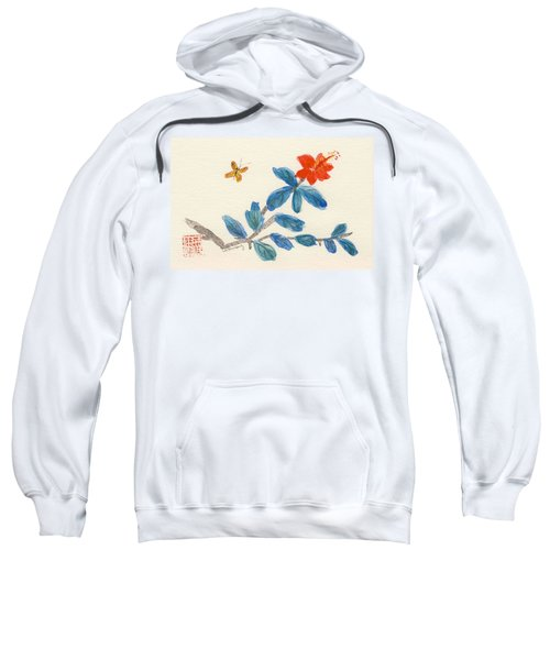 Hibiscus With Butterfly Sweatshirt