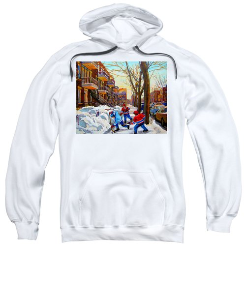 Hockey Art - Paintings Of Verdun- Montreal Street Scenes In Winter Sweatshirt