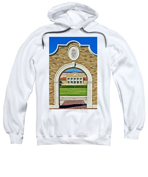 Sweatshirt featuring the photograph Homecoming Bonfire Arch by Mae Wertz