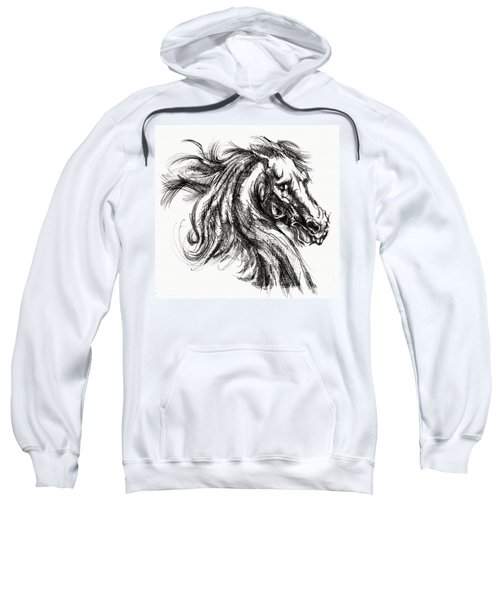 Horse Face Ink Sketch Drawing - Inventing A Horse Sweatshirt