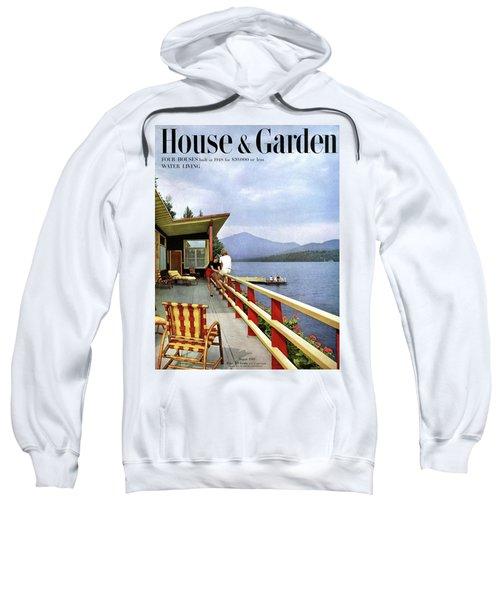 House & Garden Cover Of Women Sitting On The Deck Sweatshirt
