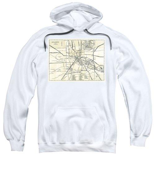 Houston City Hand Drawn Map  1935 Sweatshirt