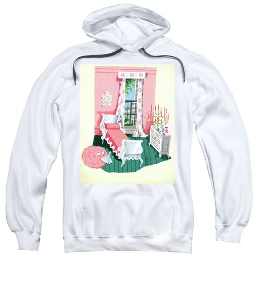 Illustration Of A Victorian Style Pink And Green Sweatshirt