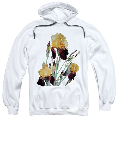 Watercolor Of Tall Bearded Iris In Yellow And Maroon I Call Iris Beethoven Sweatshirt