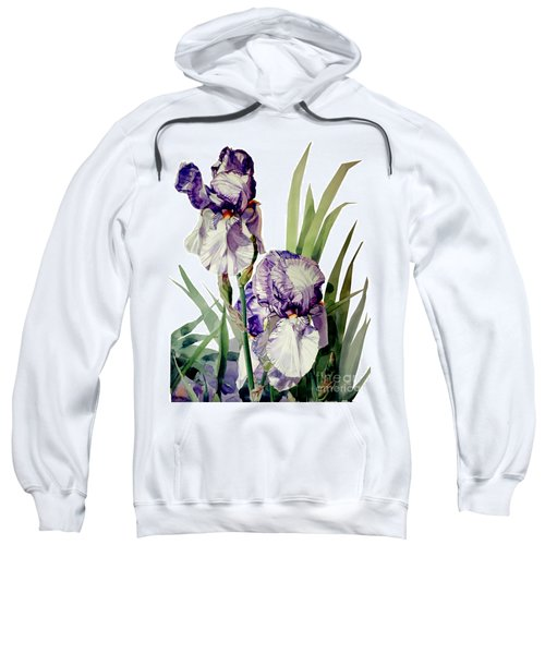 Watercolor Of A Tall Bearded Iris In Violet And White I Call Iris Selena Marie Sweatshirt