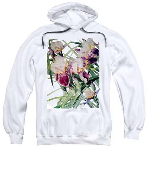 Watercolor Of Tall Bearded Irises I Call Iris Vivaldi Spring Sweatshirt