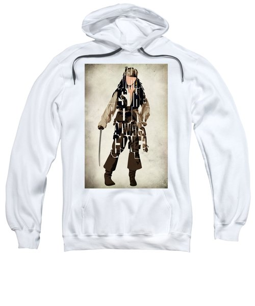 Jack Sparrow Inspired Pirates Of The Caribbean Typographic Poster Sweatshirt