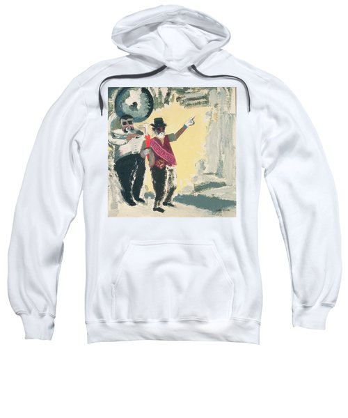 Leading The Criterion Jazz Band With Big Al Oil On Canvas On Board Sweatshirt