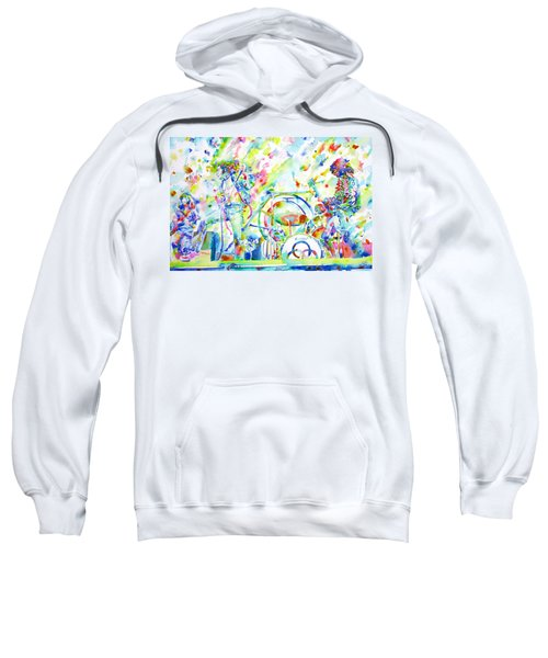 Led Zeppelin Live Concert - Watercolor Painting Sweatshirt by Fabrizio Cassetta