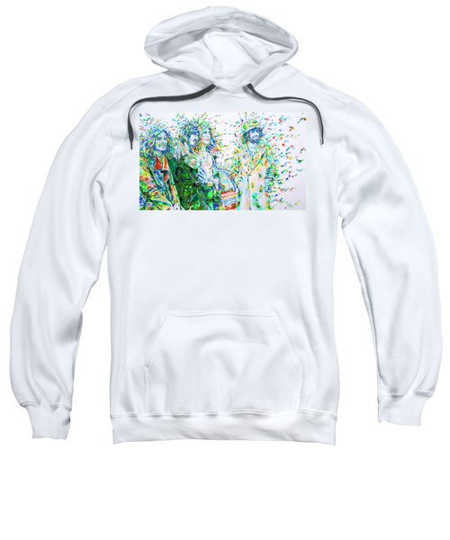 Led Zeppelin - Watercolor Portrait.2 Sweatshirt by Fabrizio Cassetta