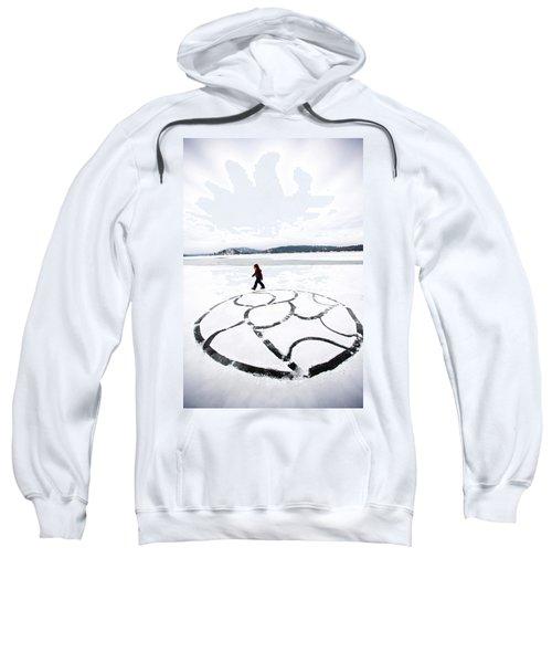 Little Girl Walking Around Large Design Sweatshirt