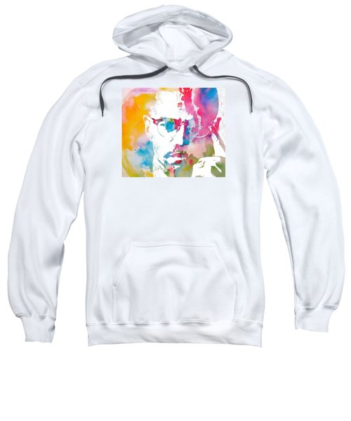 Sweatshirt featuring the painting Malcolm X Watercolor by Dan Sproul