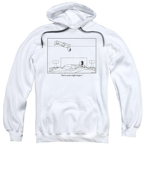 Man Floats Above His Wife In Bed Sweatshirt