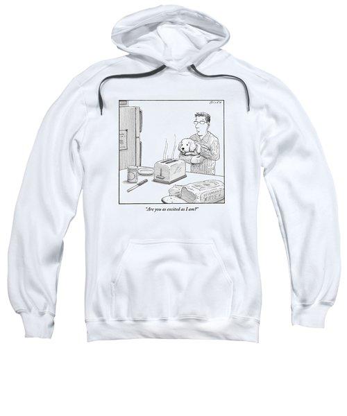 Man, Holding Dog, Speaks To Dog As Both Watch Sweatshirt