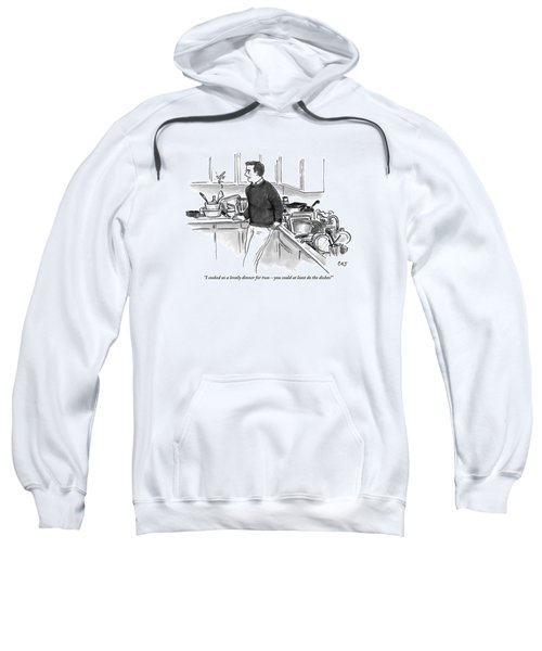 Man In Kitchen Surrounded By Dishes Sweatshirt