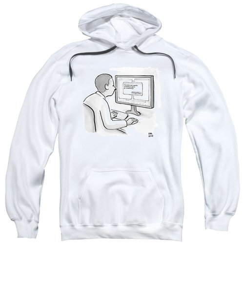 Man Looks At Computer Screen In Which An Alert Sweatshirt