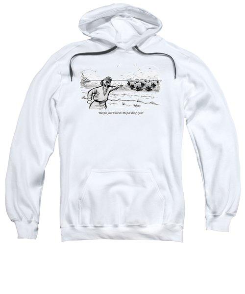 Man Standing On The Beach Screams As A Fleet Sweatshirt