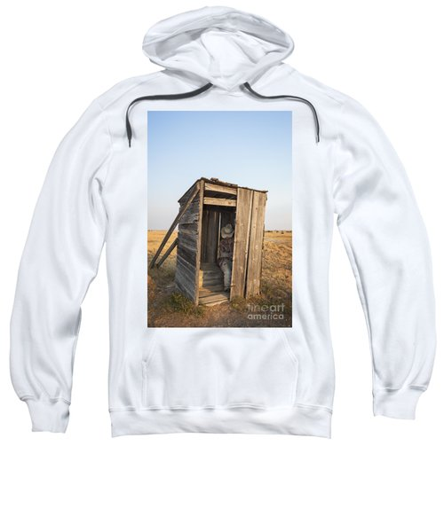 Mannequin Sitting In Old Wooden Outhouse Sweatshirt