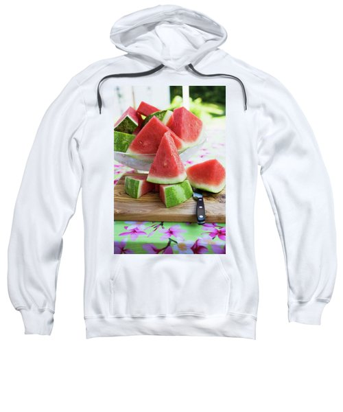 Many Pieces Of Watermelon In A Glass Bowl Sweatshirt