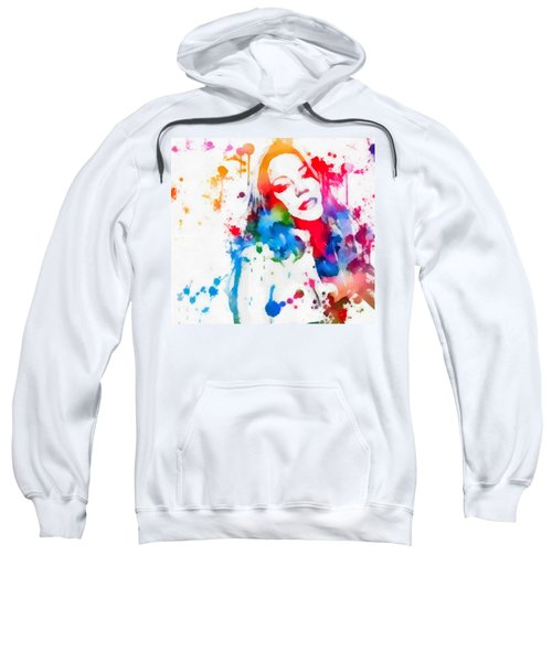 Sweatshirt featuring the painting Mariah Carey Watercolor Paint Splatter by Dan Sproul