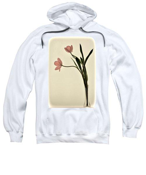 Mauve Tulips In Glass Vase Sweatshirt