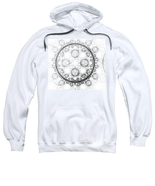 Minimalist Fractal Art Black And White Circles Sweatshirt