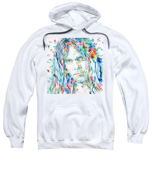 Neil Young - Watercolor Portrait Sweatshirt by Fabrizio Cassetta