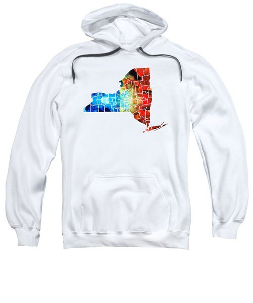 New York - Map By Sharon Cummings Sweatshirt