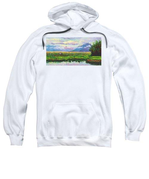 Nomad - Alaska Landscape With Joe Redington's Boat In Knik Alaska Sweatshirt