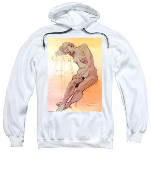 Nude Woman Leaning On A Barstool Sweatshirt