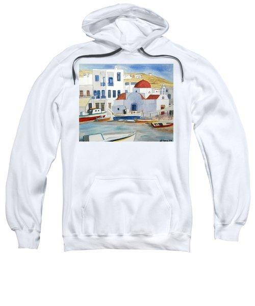 Watercolor - Mykonos Greece Detail Sweatshirt