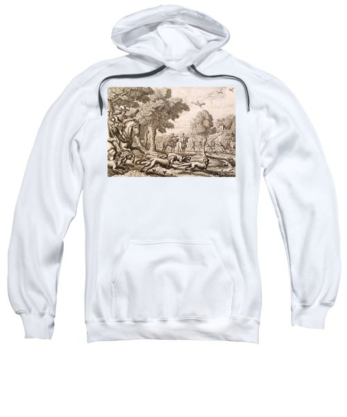Otter Hunting By A River, Engraved Sweatshirt by Francis Barlow