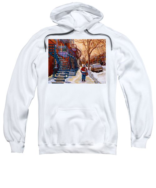 Paintings Of Montreal Beautiful Staircases In Winter Walking Home After The Game By Carole Spandau Sweatshirt
