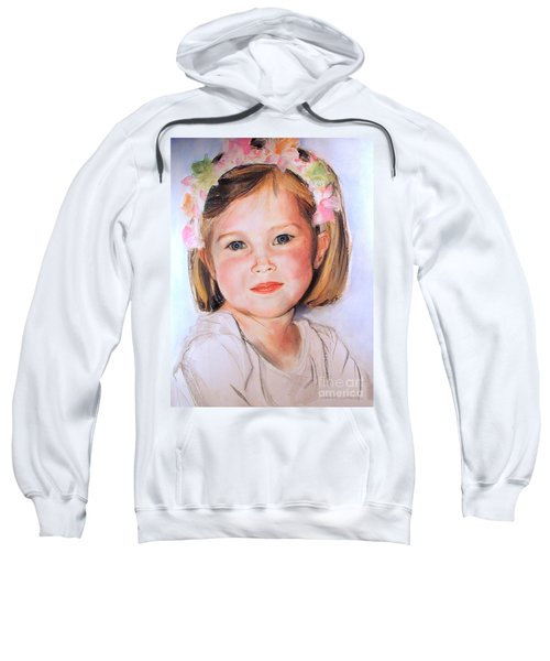 Pastel Portrait Of Girl With Flowers In Her Hair Sweatshirt