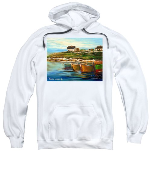 Peggys Cove With Fishing Boats Sweatshirt