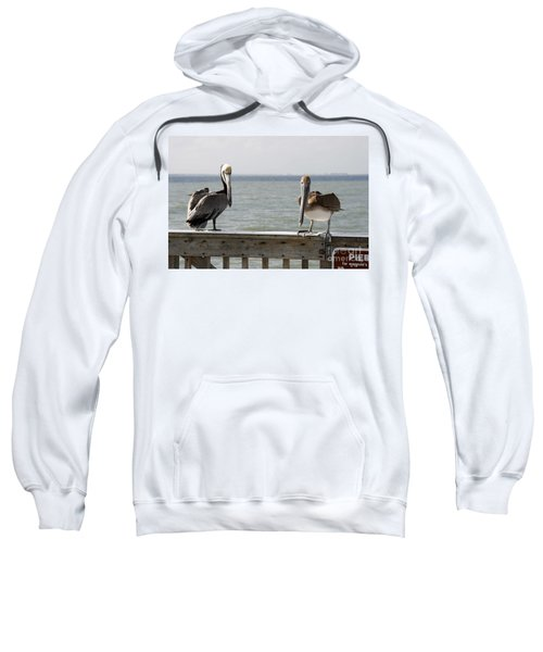 Pelicans On The Pier At Fort Myers Beach In Florida Sweatshirt