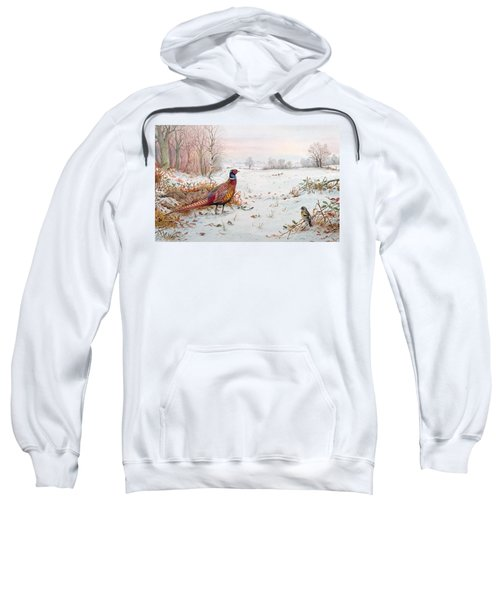 Pheasant And Bramblefinch In The Snow Sweatshirt by Carl Donner