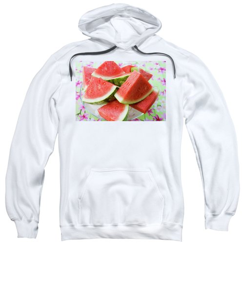 Pieces Of Watermelon On A Glass Platter Sweatshirt