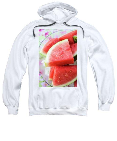 Pieces Of Watermelon On A Platter Sweatshirt