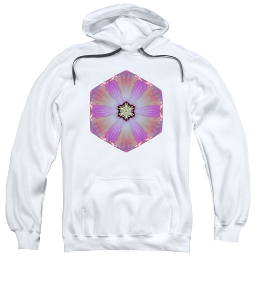 Pink And White Hibiscus Moscheutos I Flower Mandala White Sweatshirt