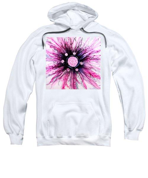 Pink Black Elegance Alcohol Inks Abstract Sweatshirt