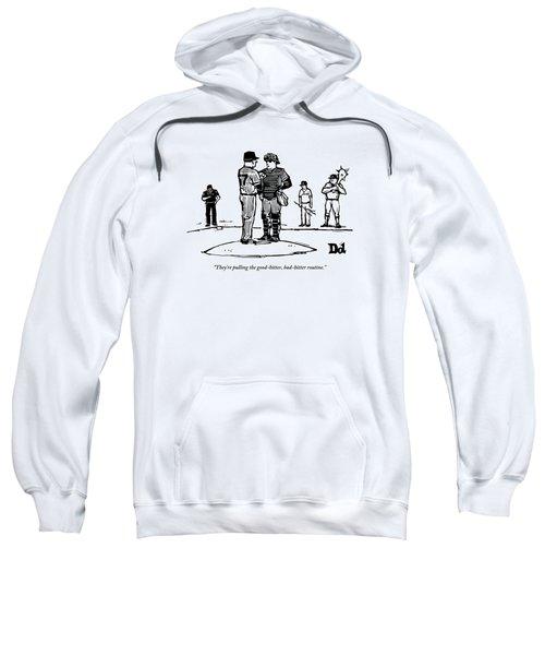 Pitcher And Catcher Stand On Pitcher's Mound Sweatshirt