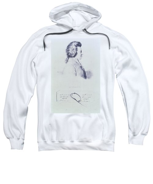 Portrait Of Wolfgang Amadeus Mozart 1756-91 With A Lock Of His Hair Attached Below Engraving Sweatshirt