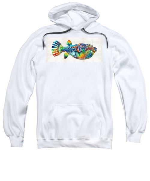 Puffer Fish Art - Blow Puff - By Sharon Cummings Sweatshirt