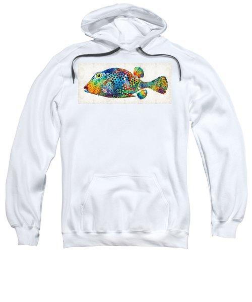 Puffer Fish Art - Puff Love - By Sharon Cummings Sweatshirt