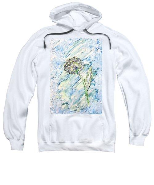 Rainbow And Blue Dandelion Alcohol Inks  Sweatshirt